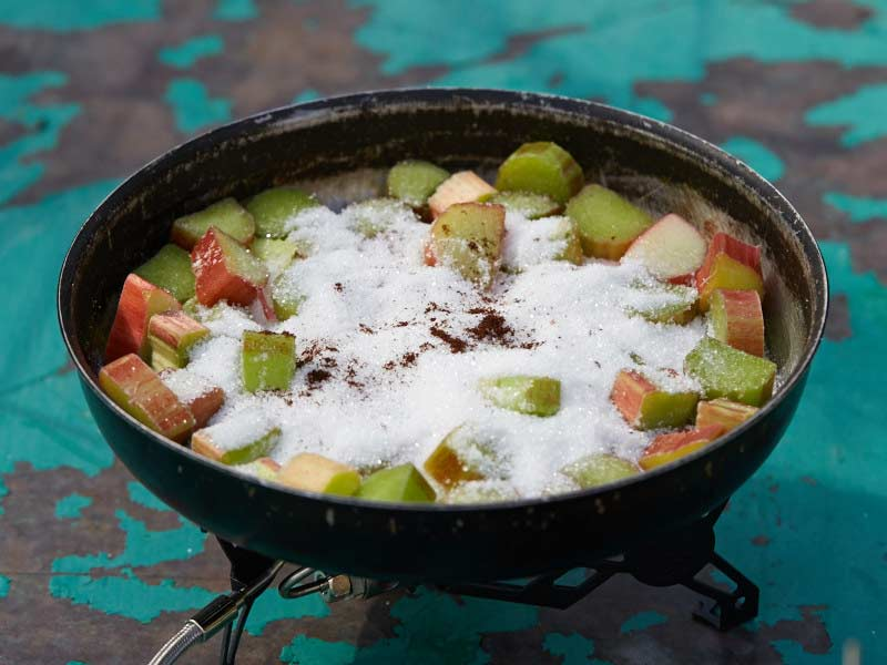 poached rhubarb, trail cooking with rhubarb